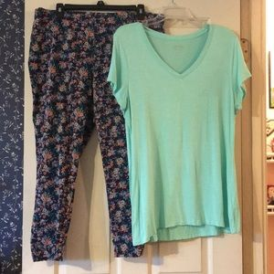 Cute outfit Multi color pants with Mint Tee Shirt